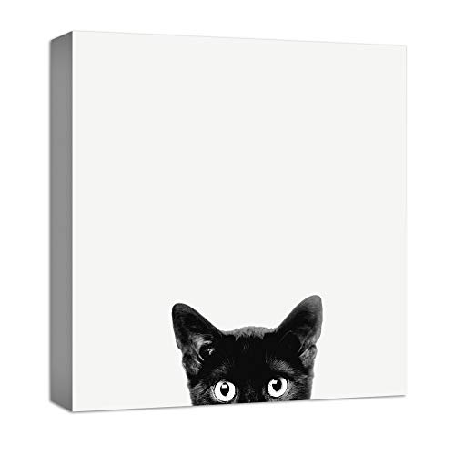 NWT Canvas Wall Art Curious Pets Cat Black and White Painting Artwork for Home