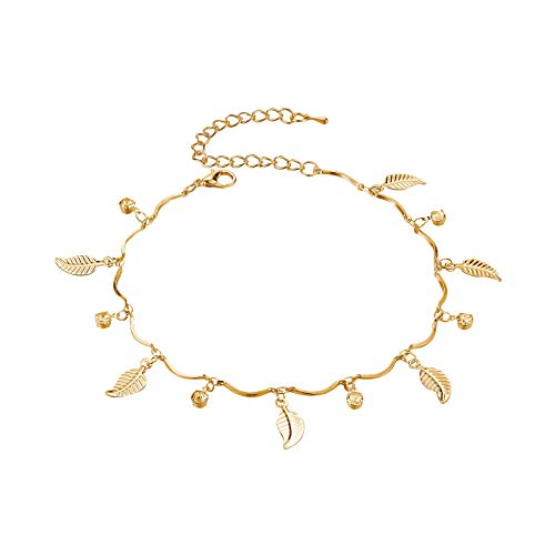 Janly Clearance Sale Women Anklet , Sexy Gold Ankle Bracelet Feather Rhinestone Pendant Leaf Foot Chain , Jewelry Sets , Valentine's Day (Gold)