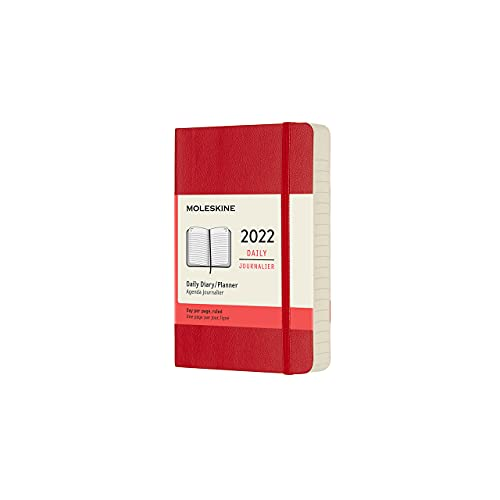 Moleskine Classic 12 Month 2022 Daily Planner, Soft Cover, Pocket (3.5 x 5.5), Scarlet Red
