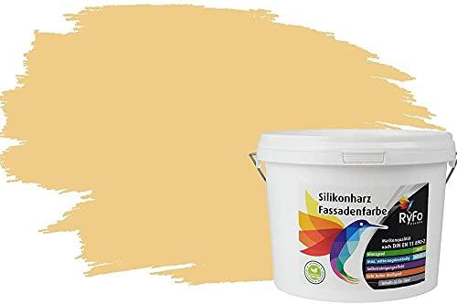 RyFo Colors Silikonharz Fassadenfarbe Lotuseffekt Trend Safrangelb 3l - bunte Fassadenfarbe, weitere Gelb Farbtöne und Größen erhältlich, Deckkraft Klasse 1
