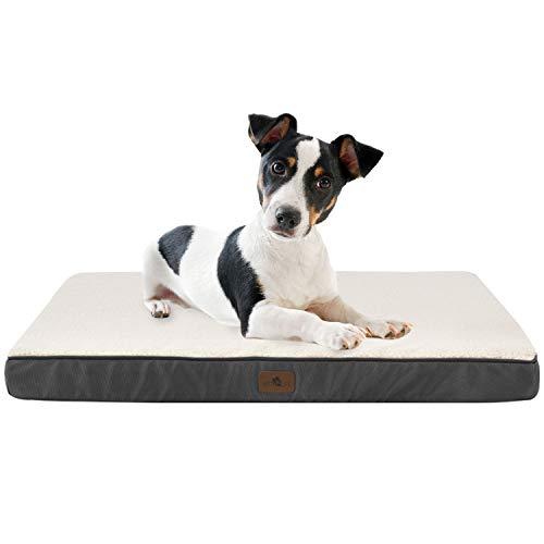 Juskys Hundebett Milow orthopädisch – 76 x 51 x 8 cm - Bezug abnehmbar & waschbar – Hundekissen kleine Hunde – Hundematte Hundesofa - Grau