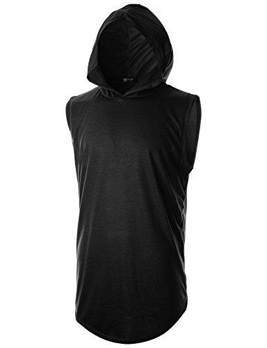 GIVON Hombres Camiseta Inconformista Simple Palangre De Peso Ligero Suéter De Manga Larga Con Capucha Dcf025-Negro Pequeñas