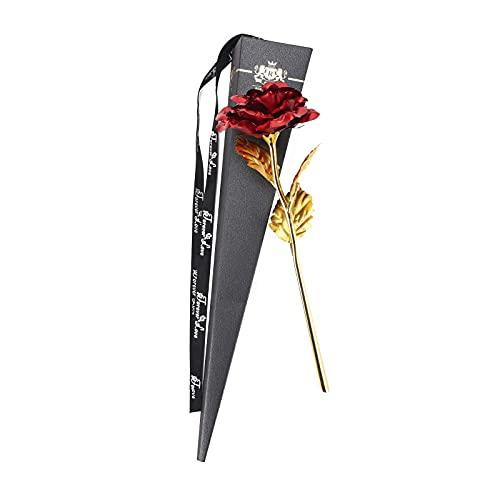 Goldene Rose, Geschenk, 24 Karat Goldfolie, künstliche ewige Rose für Frauen, Blumen, Erinnerung, romantisch und Freundschaft, ewige Blumen, Geschenk für Muttertag, Valentinstag, Geburtstag