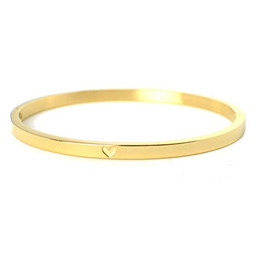 Herz Armreif Gold Selfmade Jewelry ® – Armband aus Stainless Steel mit Herz Gravurl Armschmuck Damen Mädchen Inkl. Schmuckbox (Gold)