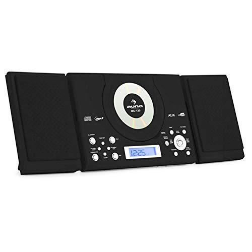 AUNA MC-120 - impianto stereo multimediale , lettore CD MP3 , radio VHF/FM , 30 stazioni radio , USB , AUX-in , sveglia , LCD display , telecomando , casse rimovibili , trendy 2014 Antracite