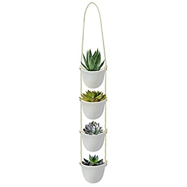 Nellam Ceramic Rope Hanging Planters – 4 Pcs, White, Modern Basket Pots, Tiered Hangers – for Indoor and Outdoor Use - Ideal for Garden Flowers, Herbs, Strawberry Plants