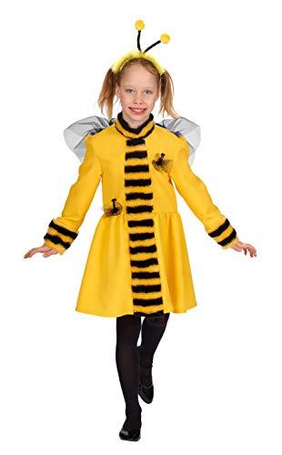 Andrea Moden 296-128 – Costume da ape per bambini, vestito e cerchietto con sensore, misura 128 cm, ape, bomo, animale, insetto, festa a tema, carnevale
