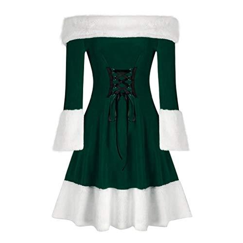 Dames Vrolijk Kerst Fluweel Een Lijn Jurk, Lange Mouw Uit Schouder Vintage Vintage Vetersluiting Kerst Kostuum Swing Jurk Plus Maat 10-20