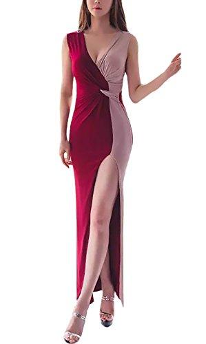 Damen Abendkleid Lang Elegant Ärmellos V Ausschnitt Slim Fit Irregular Einfacher Stil Asymmetrisch Zweifarbige Stitching Mode Ballkleid Cocktailkleid Etuikleid (Color : Rot, One Size : S)