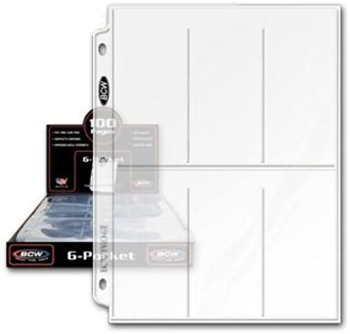 (100) BCW 6 Pocket Album Binder Pages  by BCW