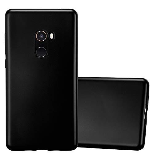 Cadorabo Funda para Xiaomi Mi Mix 2 en Metallic Negro – Cubierta Proteccíon de Silicona TPU Delgada e Flexible con Antichoque – Gel Case Cover Carcasa Ligera