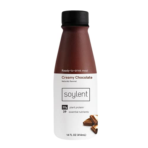 Soylent Complete Nutrition Gluten-Free Vegan Protein Meal Replacement Shake, Creamy Chocolate, 14 Oz, 12 Pack