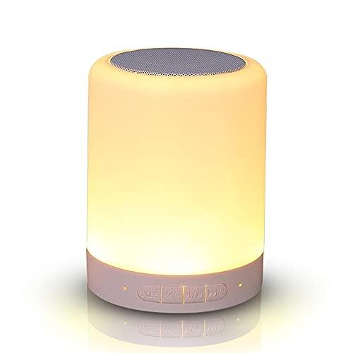Lámpara de noche con altavoz Bluetooth, sensor táctil, luz nocturna, luz de ambiente, intensidad regulable, recargable por USB, portátil, para mujeres, hombres, jóvenes y niños
