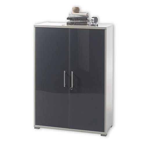 Stella Trading OFFICE LUX Aktenschrank abschließbar, grau mit graphit lackierter Glasfront - Büroschrank mit 2 Türen - Modernes Büromöbel Komplettset - 78 x 114 x 35 cm (B/H/T)