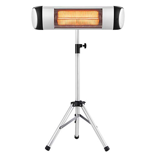 Xbeauty Electric Patio Heater, Outdoor/Indoor Electric Infrared Heater Freestanding&Wall Mounted Space Heater for Garden, Balcony, Garage with Waterproof Aluminum Pole