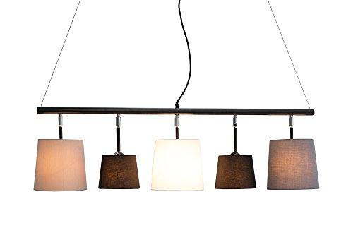 DuNord Design Hängelampe Esszimmer Pendellampe Lampe schwarz weiß grau ALICANTE 100cm neigbar