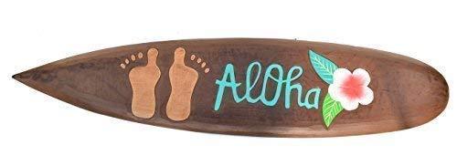 Interlifestyle Tabla de Surf 100cm con Aloha Feet Motivo Decoración Hawai Letrero de Madera