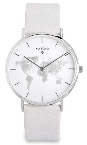 Uhr mit Weltkarte von kurakura mit Saphirglas und 5 ATM Wasserdichtigkeit und wechselbaren Armband (40 mm, Silber merokok besi)