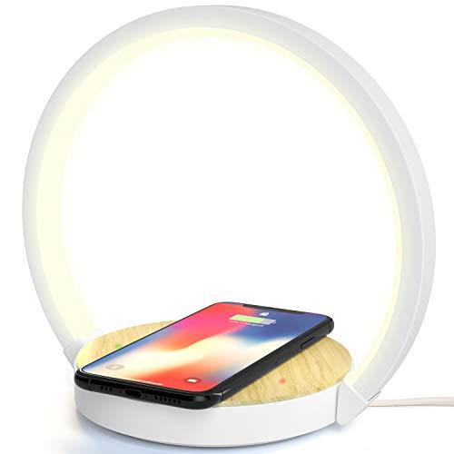 Lampada da Scrivania Tavolo LED Comodino con Caricatore Wireless Caricabatterie QI Senza Fili 10W 3 Livelli Luminosità Touch Control Indicatore di Ric