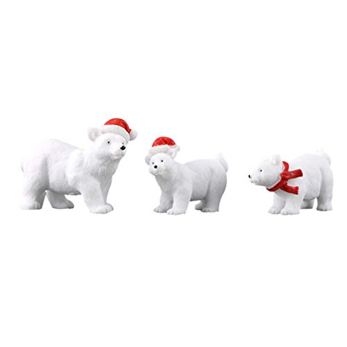 Vosarea - Mini decoración navideña en miniatura de resina de oso polar, figuras de animales, decoración de la mesa de Navidad (6 unidades)