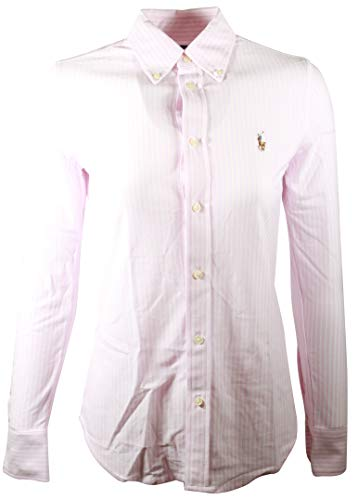 Polo Ralph Lauren Womens Knit Oxford Shirt (Large, Pink/White)