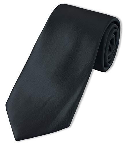 Puccini XXL Krawatte Herren, Einfarbig, verschiedene Farben, Krawatte Überlänge, Satin-Glanz, Mikrofaser, 8,5 cm, Handarbeit, Schwarz, 160 cm lang, 8,5 cm breit