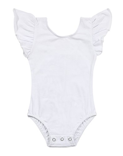 Newborn Baby Girls Flutter Sleeve One-Piece Romper Ruffle Leotard Onesies Bodysuit Size 18-24 Months/Tag100 (White)