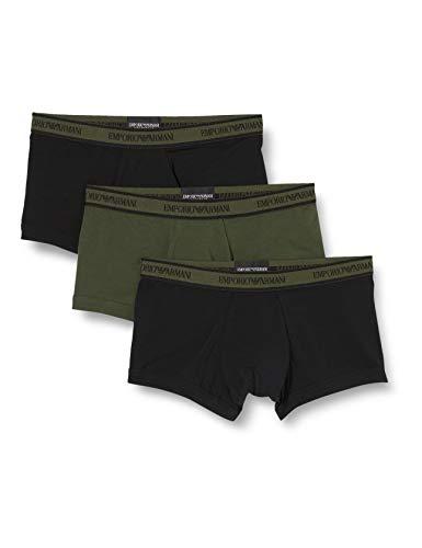 Emporio Armani Underwear Herren 3-Pack Trunk Unterwäsche, Nero/Militare/Nero - Black/Military/Black, L