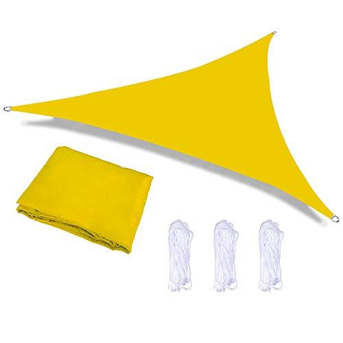 Bluecool Sun Segel Sonnensegel 5X5X5m Sonnensegel Wasserdicht UV Schutz Wetterschutz Wasserabweisend Reißfestigkeit Windschutz Sonnenschutz für Garten Terrasse Carport, Gelb
