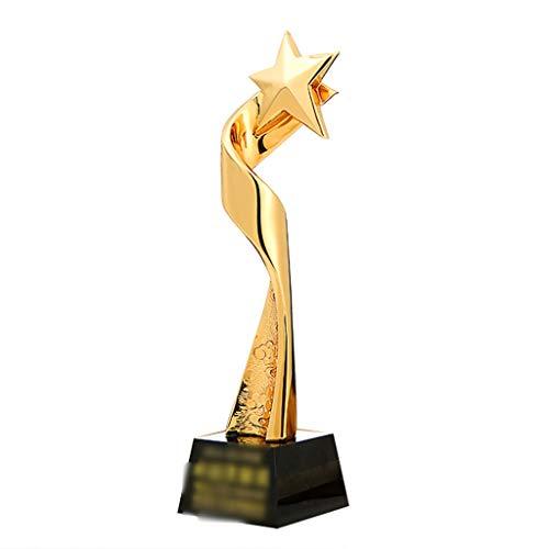 Trofeos Medallas y premios Chapado En Oro Metal Resina Estrella De Cinco Puntas Cristal Regalo Decoración del Hogar (Color : Gold, Size : 8 * 8 * 31cm)