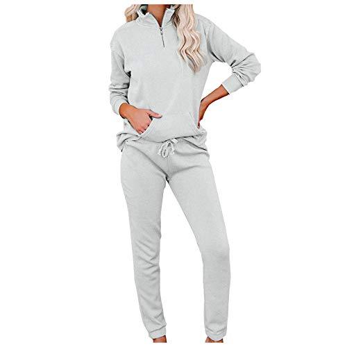 BOIYI Pijamas de Color Sólido de Cremallera Sudaderas con Capucha para Mujer, Ropa de Dormir de Fiestas Ropa de Dormir, con Mangas Largas, Traje de casa, Traje de Noche para Adultos