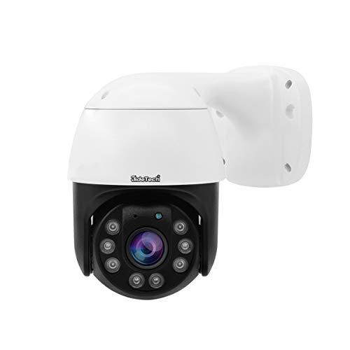 JideTech POE - Cámara IP para exteriores, cámara de vigilancia CCTV HD ONVIF, IP66 impermeable, visión nocturna mejorada, seguimiento de movimiento