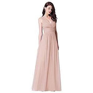 Ever-Pretty Vestito da Cerimonia Donna Linea ad A Tulle Scollo a V Senza Maniche Stile Impero Lungo 07526