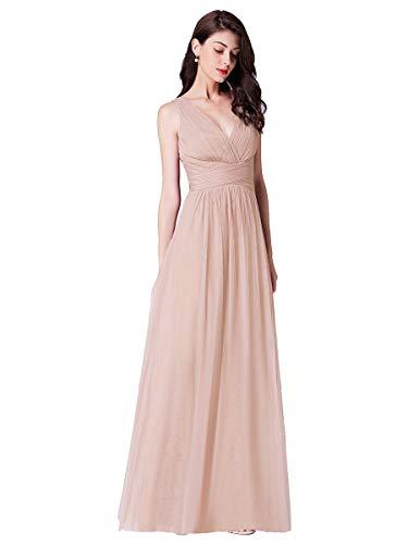 Ever-Pretty Vestito da Cerimonia Donna Linea ad A Tulle Scollo a V Senza Maniche Stile Impero Lungo Arrossire 36