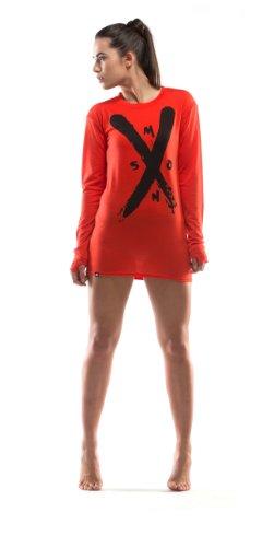 Mons Royale Femme First Layer Boyfriend T-Shirt à Manches Longues pour Femme Medium Rouge - Rouge