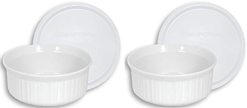 CorningWare French White 24-Ounce Round Dish with Plastic Cover, Pack of 2 Dishes