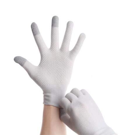 Guantes Transpirables Antideslizantes para Pantalla táctil, Guantes Finos de Verano para Montar/Conducir/montañero, Guantes de muñeca para Hombres y Mujeres, Deporte para Correr-FHS White