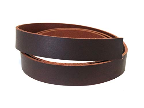 """Buffalo Leather Strap, Leather Belt Blank Strip, 1-1/4"""" Wide Heavy Weight Thick 8oz - 10oz, 55"""" to 60"""" in Length, Brown West Tan Leather Strip for Belts"""