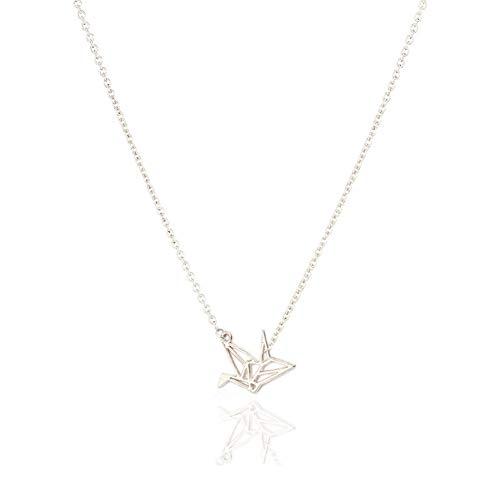 wangzz Mode Papier Kran Anhänger Kurzkettige Choker Halskette Für Frauen Goldene Origami Taube Wunsch Halskette SchmuckAls Geschenk
