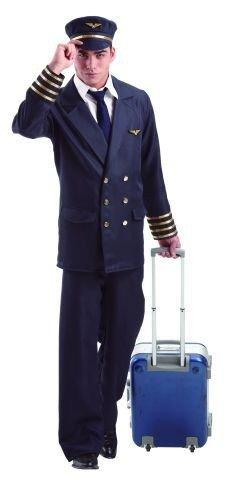 Foxxeo Pilotenkostüm für Herren mit Hut - Piloten Uniform mit Mütze für Karneval Fasching Kostüm Pilot Größe XL