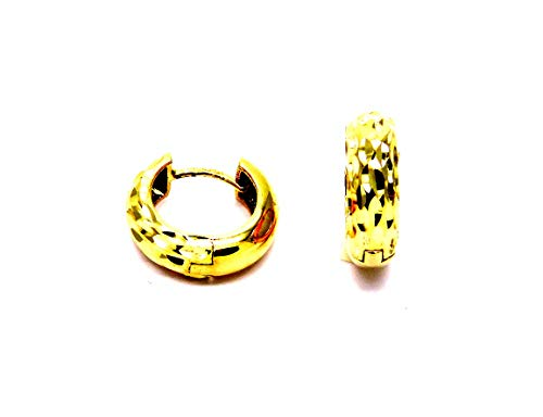 Orecchini Oro Giallo 18kt (750) Anelle Cerchio Piccoli Cerchietti Lucidi a Scattino Donna Ragazza