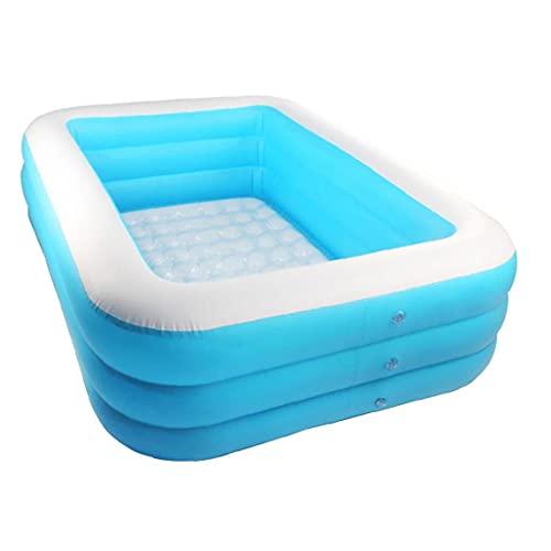 Piscina para niños con espesas, piscina rectangular para niños, piscina inflable en forma de crucero en forma de barco de crucero para jardín azul 1.5m equipo de agua
