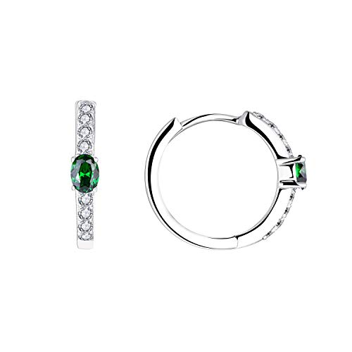 JO WISDOM Hoop Earrings,925 Sterling Silver 3A Cubic Zironia May Birthstone Emerald Color Hoop Earrings with White Gold Plated,Jewellery for Women