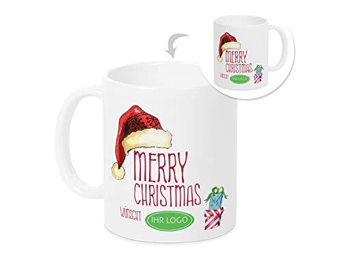 GRAZDesign mok kerstmis zakelijke klanten cadeau, presentatie, gepersonaliseerde koffiemok kerstmotief, reclamegeschenk met logo/naam, Merry Christmas Motief kerstmuts