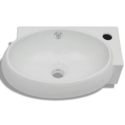 Festnight Keramik Waschtisch Waschbecken Handwaschbecken Keramikwaschtisch Keramikspülen mit ?berlauf Wei?