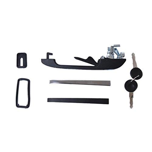 B Blesiya Kits de Manija de Puerta Exterior Lateral Izquierda Delantera Negra para Golf Jetta MK1 MK2