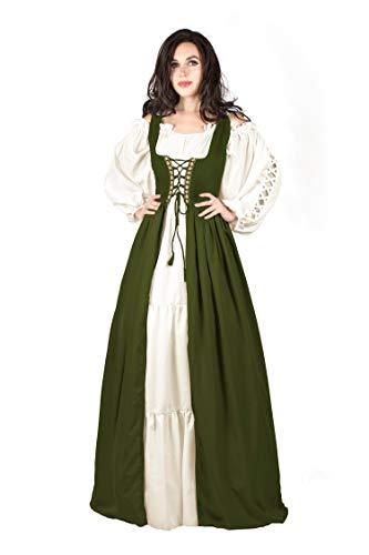 Gaelic Pirate Wench Irish Renaissance Costume Over Dress & Chemise (Small-Medium, Olive Green)