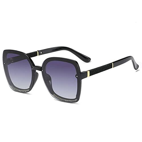 N\C Gafas de Sol polarizadas para Mujer, Gafas de Sol de Montura Grande con Incrustaciones de Diamantes, Gafas de Sol de conducción de Moda