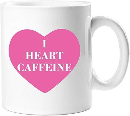 Queen54ferna I Hart Cafeïne Wit Novelty Koffie Mokken Keramische Thee Cup 11 Oz Mok, Verjaardag Mok, Cadeaus voor Mama, voor Pa, voor Meisjes