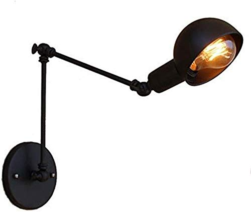 Retro negro brazo largo doble escalable lámpara de pared noche creativa